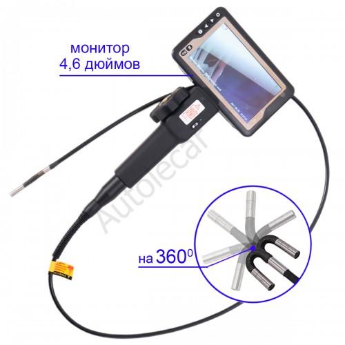 WiFi-эндоскоп VR-444-5,5мм-1м, HD, управление на 360 градусов. С монитором 4,6 дюймов и термодатчиком
